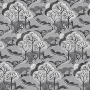 Into The Woods by Makower UK - 5825 - Trees and Deer in Grey - 1849_S - Cotton Fabric